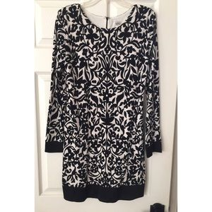 Cache Black and White Long Sleeves Dress Sz 6